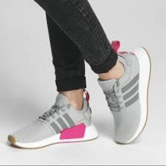 e564e7a74 Adidas Women s NMD R2 Knit Sneaker Gray Pink NIB